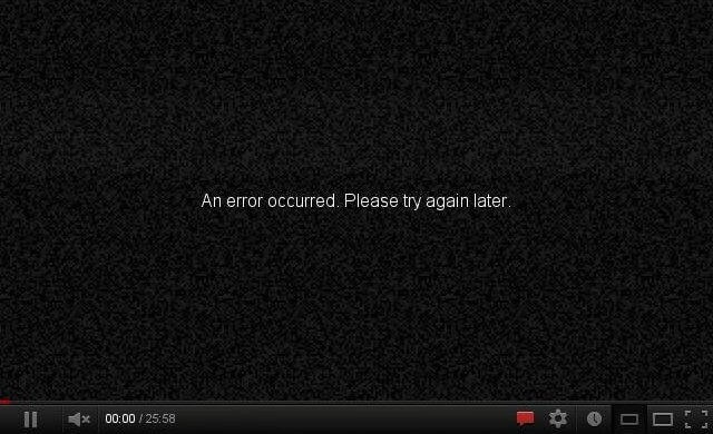 An error occurred on Youtube. Please try again later.